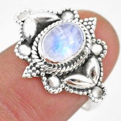 2.14cts solitaire natural rainbow moonstone oval 925 silver ring size 7 t43970