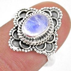 2.17cts solitaire natural rainbow moonstone oval 925 silver ring size 7 t43971