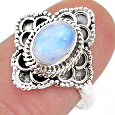 2.14cts solitaire natural rainbow moonstone oval 925 silver ring size 7 t43992