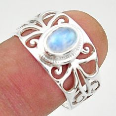 1.57cts solitaire natural rainbow moonstone oval 925 silver ring size 8 r40839