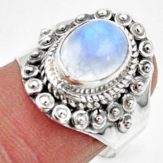 4.14cts solitaire natural rainbow moonstone oval 925 silver ring size 8 r49421