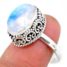 5.12cts solitaire natural rainbow moonstone oval 925 silver ring size 8 r51434