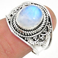 4.55cts solitaire natural rainbow moonstone oval 925 silver ring size 8 r51921
