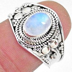 2.09cts solitaire natural rainbow moonstone oval 925 silver ring size 8 t10071