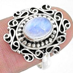 2.11cts solitaire natural rainbow moonstone oval 925 silver ring size 8 t15819