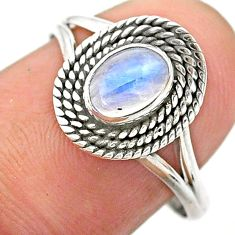 0.99cts solitaire natural rainbow moonstone oval 925 silver ring size 8 t26195