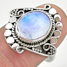 5.10cts solitaire natural rainbow moonstone oval 925 silver ring size 8 t39959