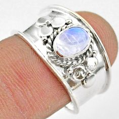 1.53cts solitaire natural rainbow moonstone oval 925 silver ring size 8 t42305