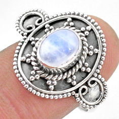 2.13cts solitaire natural rainbow moonstone oval 925 silver ring size 8 t43796