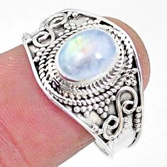 2.08cts solitaire natural rainbow moonstone oval 925 silver ring size 9 t10069