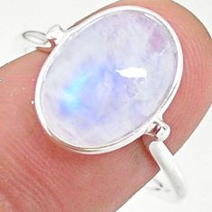 5.74cts solitaire natural rainbow moonstone oval 925 silver ring size 9 t34680