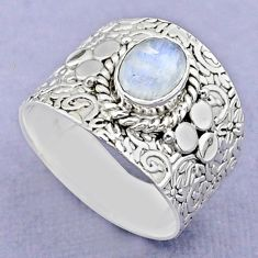 2.10cts solitaire natural rainbow moonstone oval 925 silver ring size 9 t37239