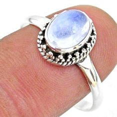 1.88cts solitaire natural rainbow moonstone oval 925 silver ring size 9 t43860