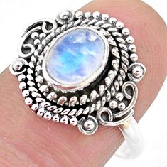 2.10cts solitaire natural rainbow moonstone oval 925 silver ring size 9 t43995