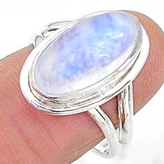 7.89cts solitaire natural rainbow moonstone oval 925 silver ring size 8.5 t12824