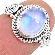 3.98cts solitaire natural rainbow moonstone oval 925 silver ring size 6.5 t15795