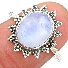 3.98cts solitaire natural rainbow moonstone oval 925 silver ring size 7.5 t25340