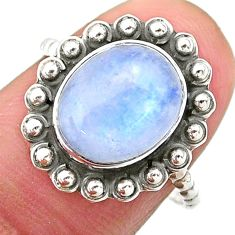 4.53cts solitaire natural rainbow moonstone oval 925 silver ring size 7.5 t25357