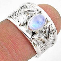 1.53cts solitaire natural rainbow moonstone oval 925 silver ring size 7.5 t42308