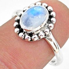 2.30cts solitaire natural rainbow moonstone oval 925 silver ring size 8.5 t43815