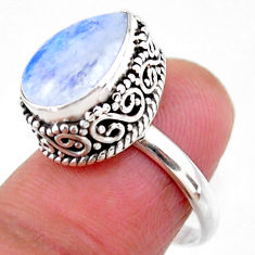 5.29cts solitaire natural rainbow moonstone pear 925 silver ring size 6.5 r51385