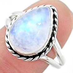 6.30cts solitaire natural rainbow moonstone pear 925 silver ring size 9 t23816