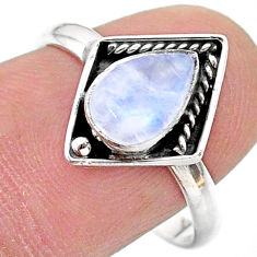 2.42cts solitaire natural rainbow moonstone pear 925 silver ring size 9 t28377