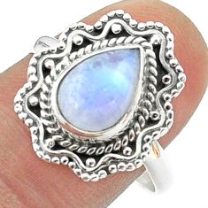 2.58cts solitaire natural rainbow moonstone pear 925 silver ring size 9 t50778