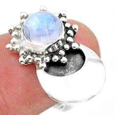 2.55cts solitaire natural rainbow moonstone round 925 silver ring size 6 t25115