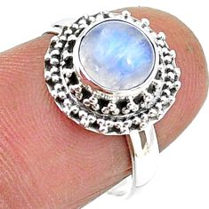 2.71cts solitaire natural rainbow moonstone round 925 silver ring size 7 t15756