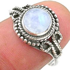 2.58cts solitaire natural rainbow moonstone round 925 silver ring size 7 t26175