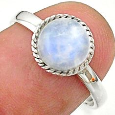 3.22cts solitaire natural rainbow moonstone round 925 silver ring size 7 t41374