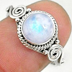 2.61cts solitaire natural rainbow moonstone round 925 silver ring size 7 t9158