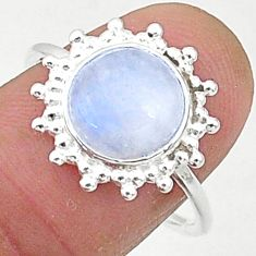 5.47cts solitaire natural rainbow moonstone round 925 silver ring size 8 t1620