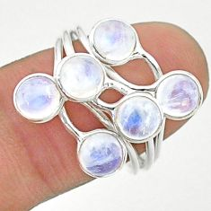5.24cts solitaire natural rainbow moonstone round 925 silver ring size 8 t19193