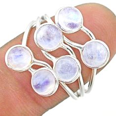 4.91cts solitaire natural rainbow moonstone round 925 silver ring size 8 t19197