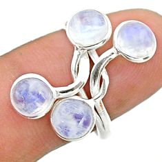 5.24cts solitaire natural rainbow moonstone round 925 silver ring size 8 t19216