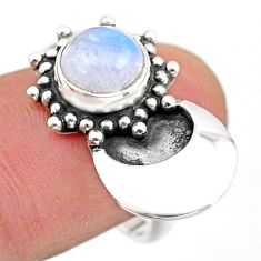 2.54cts solitaire natural rainbow moonstone round 925 silver ring size 8 t25111