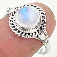 2.42cts solitaire natural rainbow moonstone round 925 silver ring size 8 t6603