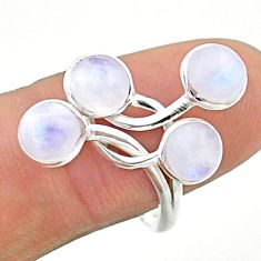 4.71cts solitaire natural rainbow moonstone round 925 silver ring size 9 t19173