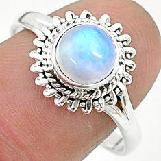 2.61cts solitaire natural rainbow moonstone round 925 silver ring size 9 t6596