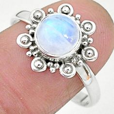 2.36cts solitaire natural rainbow moonstone round 925 silver ring size 9 t6627