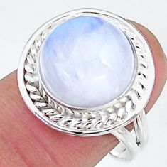 6.62cts solitaire natural rainbow moonstone round silver ring size 8.5 t12808