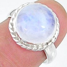 6.01cts solitaire natural rainbow moonstone round silver ring size 6.5 t12816