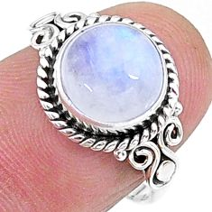 4.18cts solitaire natural rainbow moonstone round silver ring size 6.5 t15838