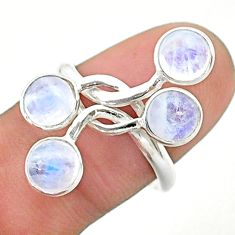 4.54cts solitaire natural rainbow moonstone round silver ring size 8.5 t19171