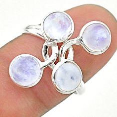 5.21cts solitaire natural rainbow moonstone round silver ring size 7.5 t19215