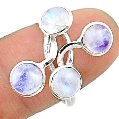 5.13cts solitaire natural rainbow moonstone round silver ring size 7.5 t19219