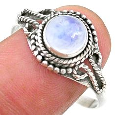 2.60cts solitaire natural rainbow moonstone round silver ring size 10.5 t26177