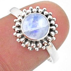 2.42cts solitaire natural rainbow moonstone round silver ring size 7.5 t41292